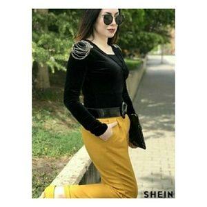 Shein Beaded Shoulder Surplice Velvet Bodysuit